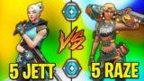 Valorant: 5 Jett VS 5 Raze Players – Who Wins?