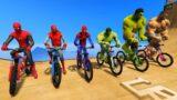 Superheroes Army vs HULK Army Bicycles Desafio na rampa – GTA V MODS