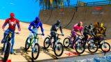 Team Spiderman vs Team Iron Man super bike competition GTA V Mods