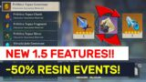AMAZING 1.5 Features! Weekly Boss Loots Exchange! -50% Resin Events! | Genshin Impact