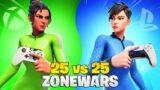 I Hosted a 50-PLAYER PS5 vs XBOX Zonewars Tournament (25 vs 25 Fortnite Creative Matchmaking)