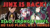 Jinx is Back! Xiao, Zhongli Buffs, Hu Tao Testing Plans, and other 1.3 stuff! Genshin Impact