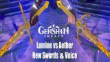 Lumine vs Aether – New Swords & Voice Showcase We Will Be Reunited Story Genshin Impact