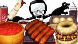 Mukbang Animation 10,000Kcal food set eating Friday Night Funkin  tankman