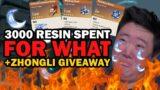 I Spent 3000 Resin In Genshin Impact New Domain +Zhongli Giveaway | PLEASE MIHOYO WHY?!