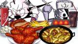 Mukbang Animation Korean Sweet Chicken set eating Friday Night Funkin Selever VS Ruv