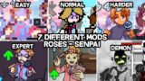 Roses – 7 Different Mods in Skin,Song and Chart   Friday Night Funkin Mod Senpai (Week 6)