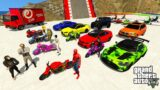 GTA V Trevor Gone Crazy in Double Mega Ramps with Super Heroes & Funny Chimp By Bikes, SuperCars