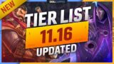 NEW TIER LIST and CHANGES for PATCH 11.16 – League of Legends