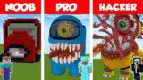 Minecraft NOOB vs PRO vs HACKER: AMONG US HOUSE BUILD CHALLENGE in Minecraft / Animation