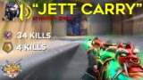 I carried a TOXIC GOLD player in an IMMORTAL game as Jett…